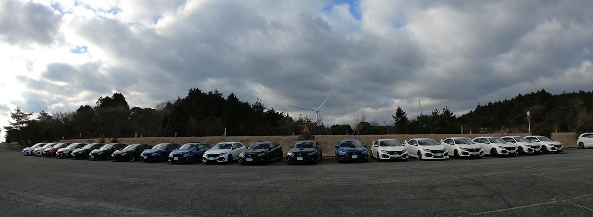 青山高原の駐車場にて整列駐車